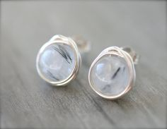 Stormy White and Black Stud Earrings Sterling by WrennJewelry, $18.00