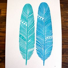 Large Original Feather Painting - Patterned Feather Pair - Amazonite Feathers