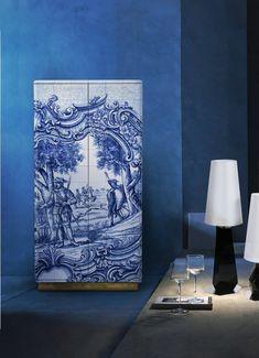 Marine-Blau Inspirationen für den Frühling | Fliese Kabinet von Boca do Lobo| Blau und Weiss Fliese | wohn-designtrend.de/