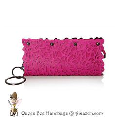 ROSE PINK - This trend setting, day to evening, women's clutch purse shouts fashionista with its unique, laser cut floral design, dark silver hardware, and an alternate chain shoulder strap option. Special feature wristlet bangle. $24.99 on Amazon.com. #purses #clutches #lasercut