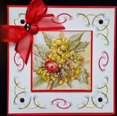 carte brodée, image coccinelle et fleurs 2 de AuxPetitsArtistes sur DaWanda.com
