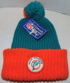 Miami Dolphins NFL Football Vintage 80's Knit Headwear Acrylic Pom Pom Beanie  #KnitHeadwear #MiamiDolphins