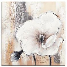 FLEURS Tableau Coquelicots Gris blanc Acrylique 75x75