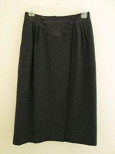 HERMES Paris Wool and Cashmere Wrap Skirt with Lamb Leather Waist Trim Sz 40