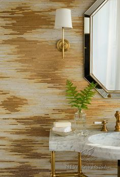 Reve, a handmade mosaic shown in 24K Gold Glass and Agate and Quartz Jewel Glass, is part of the Aurora™ Collection by Sara Baldwin for New Ravenna.<br /> -Sink featured courtesy of Stone Forest.