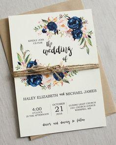 Rustic Navy Wedding Invitation Suite, Modern, Bohemian Wedding Invite Set, Rustic Floral Wedding Invitation, Boho Chic wedding, DEPOSIT