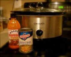 Easy crock-pot chicken wings  You need frozen wings, 2 cups wing sauce, 1 cup chicken broth. Bake wings first for about 30 minutes, then add to the crockpot with broth and sauce, cook on low all day..