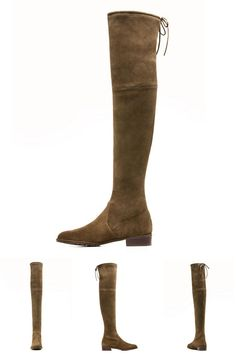 Coffee Lacing Back Stretch Suede Over The Knee Boots