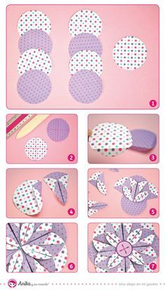 Cómo hacer una flor de papel fácil y paso a paso. Manualidades con papel. DIY. Handmade. Scrapbooking. Anita y su mundo.