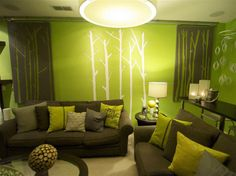 Decoration Ideas, Chic Brown Sofa With Pillows And Trees Motif On The Wall: Cool Color Inspirations for Your Living Room