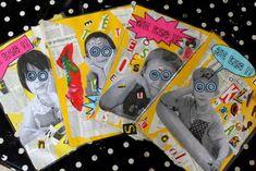 pour nos cahiers de lecture, une idée glanée ici et puis...des écoliers qui prennent la pose, du collage (papier journal, photos...