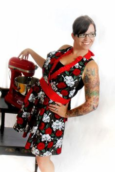 Rockabilly Skulls and Roses Apron Halter Style with Red Polka dot. $41.00, via Etsy.