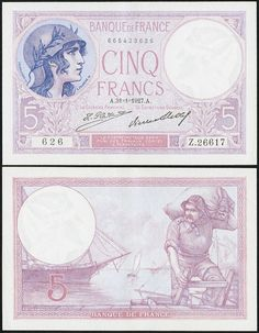 France Banque de France 5 Francs 31.1.1927 Pick 72d. A light center fold and a couple of counting crinkles result in a grade of Extremely Fine-About Uncirculated.