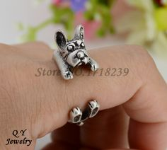 Drop Shipping 1Piece  Punk Vintage 3D American Bully Pitbull Dog Wrap Ring Anillos Boho Anel Rings For Women Aneis Fashion #Affiliate