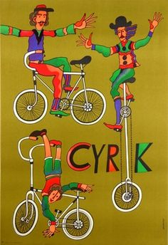Cyrk - 3 rowerzysci, Circus - 3 men on bicycle, Stachurski Marian