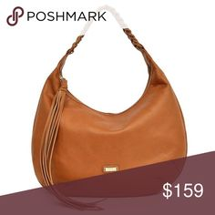 """🎁🆕 Joe´s Chelsea Braided-Handle Hobo Bag New with tags. From Joe's, the soft leather Chelsea hobo bag features: leather braided stitch shoulder strap top zip closure 1 slip pocket and 1 zip pocket inside approx. 15(L) x 10(H) x 3(W)""""; 10"""" handle drop Imported., Color: Chestnut, Material: Leather, Pattern:Braided Joe's Jeans Bags Hobos"""