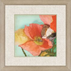 Aquatic Poppies I.  Giclee is framed in distressed silver finish molding.