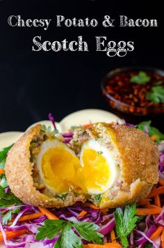 Cheesy Potato & Bacon Scotch Eggs. Make your Scotch eggs extra special with Cheese, Potato, Bacon and a generous amount of herbs! Perfect Brunch or Breakfast Eggs.