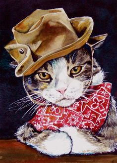 Cat wearing Hat and Bandana watercolour art print