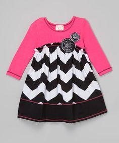 This Neon Pink & Black Chevron Babydoll Dress - Toddler & Girls by Pink Vanilla is perfect! #zulilyfinds
