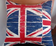Throw Pillow London Union jack Vintage distressed by IconicPillows, $35.00