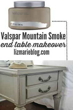 Mountain smoke end table makeover & a gorgeous neutral living room - lizmarieblog.com Valspar mountain smoke is the PERFECT gray!