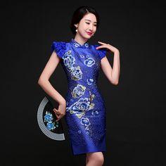 Superb+Embroidery+Modern+Qipao+Cheongsam+Dress+-+Blue+-+Qipao+Cheongsam+&+Dresses+-+Women