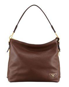 Daino Zip-Top Zip-Side Hobo Bag, Brown by Prada at Neiman Marcus.