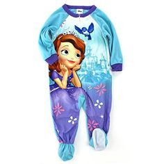 ceab04f00c Amazon.com  Sofia the First Toddler Blue Sleeper Pajamas (2T)  Clothing