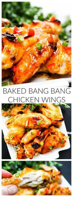 Baked Bang Bang Chicken Wings are sweet & spicy chicken wings baked in garlic chili sauce, which makes a traditional football game day appetizer healthier. Sweet And Spicy Chicken, Chicken Wings Spicy, Chicken Wing Recipes, Fried Chicken, Bang Bang Chicken, Appetizer Recipes, Appetizers, Shrimp Recipes, Tapas