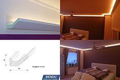 BENDU - Moderne und klassische LED Stuckleisten bzw. Lichtvouten für indirekte Beleuchtung aus Hartschaum DBML-90-PR. Ideal kombinierbar mit LED Band oder Lichtschlauch.