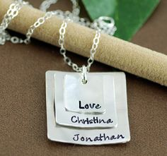 Check out this item in my Etsy shop https://www.etsy.com/listing/272086094/personalized-mom-necklace-hand-stamped