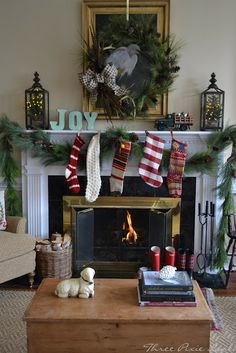 LOVE the blue joy on the mantle!! Three Pixie Lane: Christmas Simple