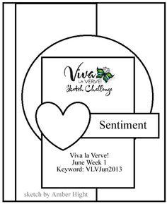 Viva la Verve! June 2013 Week 1 Card Sketch {5/31/13-6/6/13} Designed by Amber Hight #vervestamps #vivalaverve #cardsketches