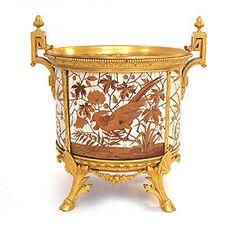 gilt bronze jardeniere | Fernand Duvinage pour Giroux : Cache-pot en bronze marqueté d'ivoire ...