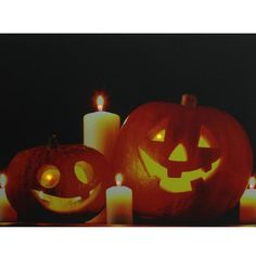 "LED Lighted Halloween Jack-o'-Lanterns with Candles Canvas Wall Art 15.75"""" x 19.5"""""