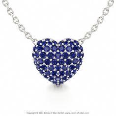 Blue Sapphire Heart Pendant #gold #love #customizable #jewelry