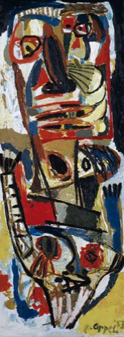 Two Heads (Deux têtes), 1953. Oil on canvas, 78 3/4 × 29 1/2 inches (200 × 75 cm). Solomon R. Guggenheim Museum, New York, 54.1363. © 2013 Karel Appel Foundation / Artists Rights Society (ARS), New York