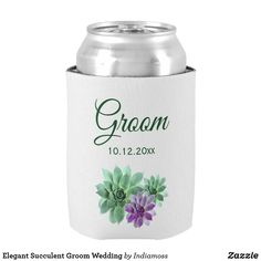 Shop Green and Purple Succulent Groom Wedding Can Cooler created by Indiamoss. Wedding Koozies, Wedding Groom, Diy Wedding, Wedding Stuff, Wedding Ideas, Elegant Wedding, Floral Wedding, Perfect Wedding, Purple And Green Wedding