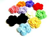 Crochet Tri layer Flower appliques: Pack of 3 Pick a color lots to choose from