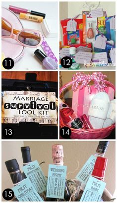 LOTS of clever gift basket ideas for bridal showers or weddings.  LOVE #15 and #25 is pretty great too. Gift basket Ideas #giftbasketideas #giftbaskets