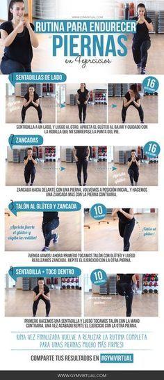 ¿Qué tal estáis? Aquí tenéis una rutina para endurecer las piernas en solo 4 ejercicios Recordad que tenéis que calentar un poco antes de empezar con el entrenamiento, y estirar un poco al finalizar el ejercicio. ¡No olvidéis que el cardio va después que los ejercicios de tonificación! Podéis combinar esta rutina con otras …