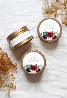 Wedding Gifts For Guests, Rustic Wedding Favors, Personalized Wedding Gifts, Handmade Wedding, Wedding Decorations, Gold Candles, Tin Candles, Candels, Minimalist Candles
