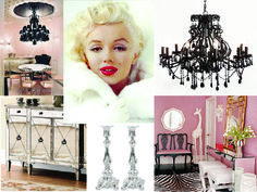 Old Hollywood Glamour is actually one of my favorite styles!  Think pink, diamond-tuck cushioning, black crystal chandeliers, silver, glass, Marilyn Monroe, animal prints, and mirrored surfaces…