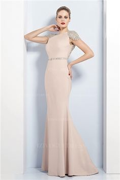 Trumpet/Mermaid Bateau Sweep/Brush Train Jersey Evening Dress