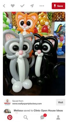 cat balloons, can somebody make these for me please, Kitten Party, Cat Party, Fete Laurent, Sculpture Ballon, Ballon Animals, Deco Ballon, November Crafts, 14 November, Balloon Crafts
