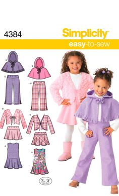 JUMPER, JACKET, PONCHO, Skirt and Pants Sewing Pattern – Simplicity 4384 – Child Size 3, 4, 5, 6, 7, 8 – Pull on Pants & Skirt, Fleece Cape by MangoLane on Etsy #mangolane