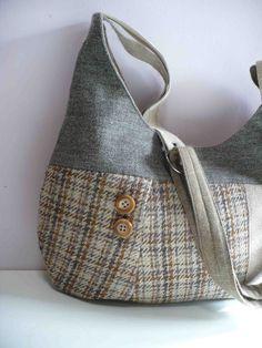 Harris Tweed Bag in Oatmeal and Cinnamon Plaid - this would look great in my pink tweed!