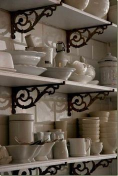 open shelving, iron brackets, ironstone - via cote de texas Open Kitchen, Country Kitchen, Kitchen Pantry, Kitchen Nook, Kitchen White, Open Pantry, Pantry Closet, Gold Kitchen, Kitchen Dining