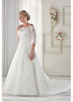 Graceful Lace Off-the-shoulder Plus Size Wedding Dresses
